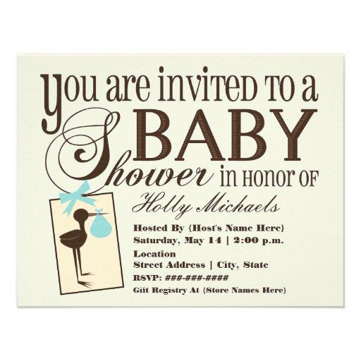 Sophisticated Stork Blue Baby Shower Invitation