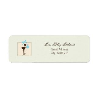 Sophisticated Stork Blue & Brown Baby Shower Return Address Label