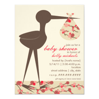 Sophisticated Stork Cherry Blossom Baby Shower 11 Cm X 14 Cm Invitation Card