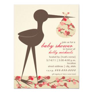 "Sophisticated Stork Cherry Blossom Baby Shower 4.25"" X 5.5"" Invitation Card"