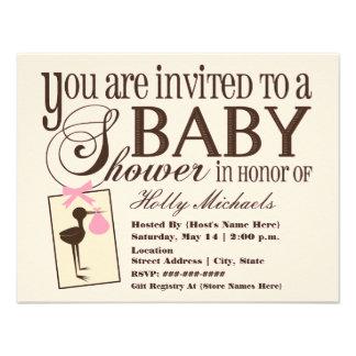 Sophisticated Stork Pink Baby Shower Invitation