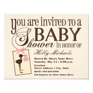 Sophisticated Stork Pink Baby Shower Invitation