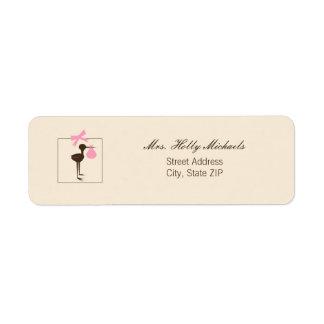 Sophisticated Stork Pink & Brown Baby Shower Return Address Label