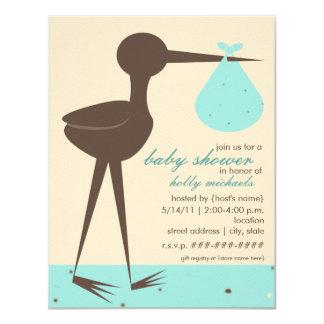 Sophisticated Stork Robin's Egg Blue Baby Shower 4.25x5.5 Paper Invitation Card