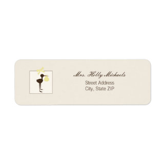 Sophisticated Stork Yellow & Brown Baby Shower Return Address Label