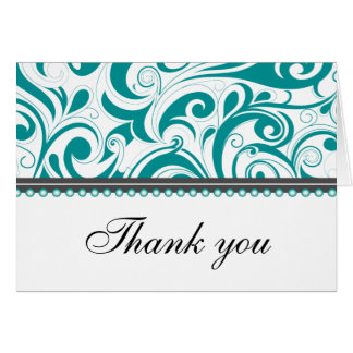 Sophisticated Teal Swirls Thank You Card