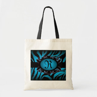 Sophisticated turquoise Zebra Print monogram Tote Bags
