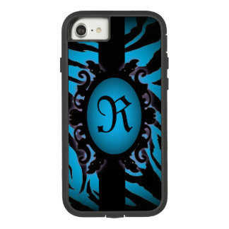 Sophisticated turquoise Zebra Print monogram Case-Mate Tough Extreme iPhone 8/7 Case