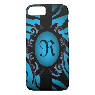 Sophisticated turquoise Zebra Print monogram iPhone 8/7 Case