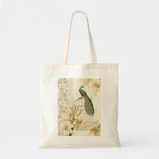 Sophisticated vintage lily birdcage Peacock Budget Tote Bag