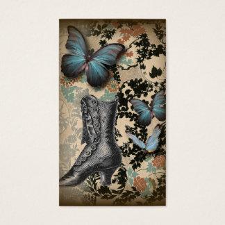 Sophisticated Vintage Paris lace shoe butterfly Business Card