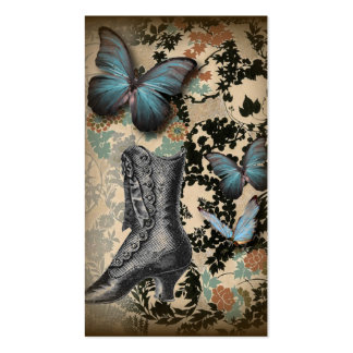 Sophisticated Vintage Paris lace shoe butterfly Business Card Templates