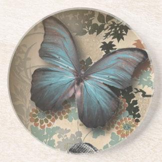 Sophisticated Vintage Paris lace shoe butterfly Drink Coaster