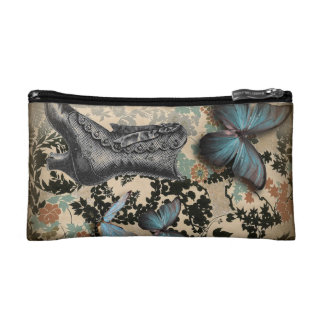 Sophisticated Vintage Paris lace shoe butterfly Cosmetic Bags
