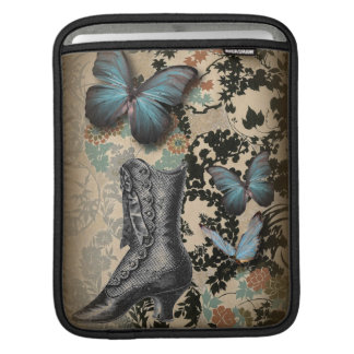 Sophisticated Vintage Paris lace shoe butterfly iPad Sleeve