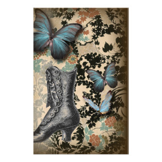 Sophisticated Vintage Paris lace shoe butterfly Customized Stationery
