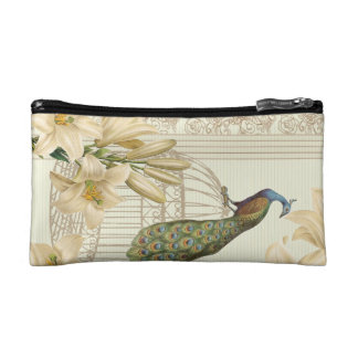 Sophisticated vintage Peacock Lily cosmetic bag