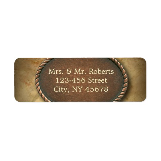 Sophisticated vintage western country wedding return address label