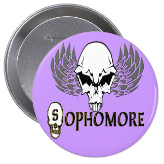 Sophomore - Skull Wings Pinback Buttons