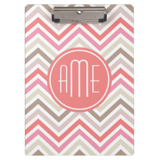Sorbet Chevrons with Triple Monograms Clipboard