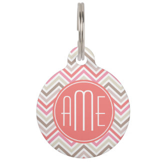 Sorbet Chevrons with Triple Monograms Pet Name Tags