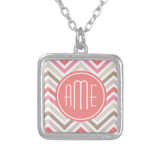 Sorbet Chevrons with Triple Monograms Square Pendant Necklace