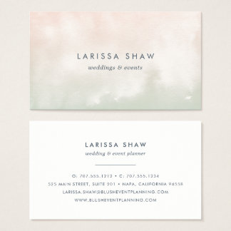 Sorbet | Peach and Pistachio Green Watercolor Business Card