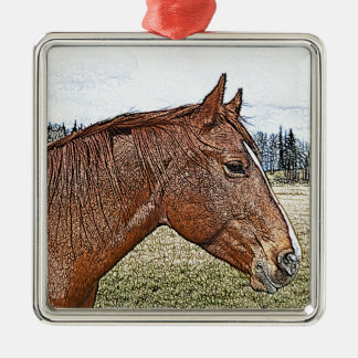 Sorrel Horse Portrait Equine Art Illustration Metal Ornament