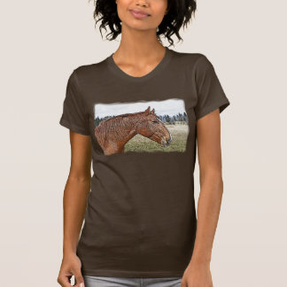 Sorrel Horse Portrait Equine Art Illustration T-Shirt