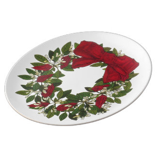 Sorrel /Poinsettia Wreath  Porecelain Plate