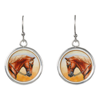 Sorrel Western Pleasure Quarter Horse Earrings