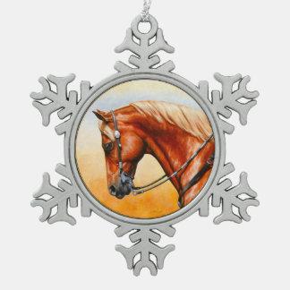 Sorrel Western Pleasure Quarter Horse Snowflake Pewter Christmas Ornament