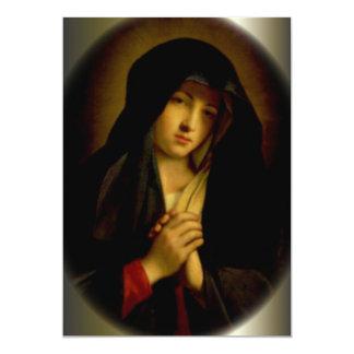 Sorrowful Virgin Mary with Folded Hands 13 Cm X 18 Cm Invitation Card