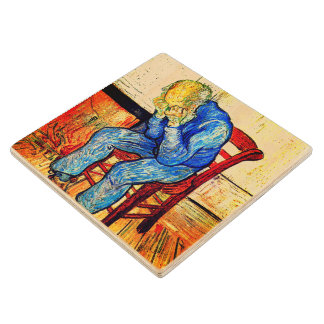Sorrowing Old Man By Van Gogh Wood Coaster