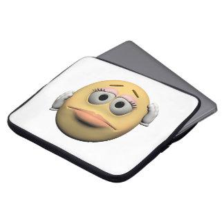 Sorry female emoticon laptop sleeve
