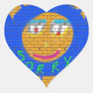 Sorry Graffiti, Art Sad Face, Sadness Regret Heart Sticker