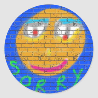 Sorry Graffiti, Art Sad Face, Sadness Regret Round Sticker