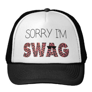 Sorry I'm Swag - Funny Quote, Pink Leopard Cap