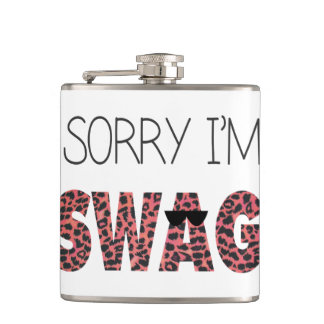 Sorry I'm Swag - Funny Quote, Pink Leopard Flasks