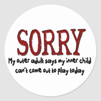 Sorry Outer Adult and Inner Child Round Sticker