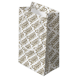 Sorry, Regrets Typography Golden Gold Text Small Gift Bag