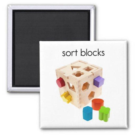 Sort Blocks Refrigerator Magnet