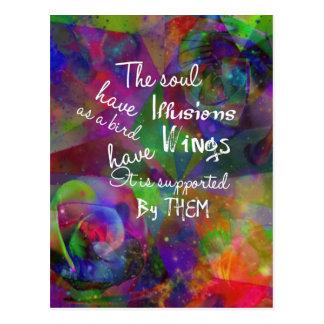 Soul have wings as bird postcard