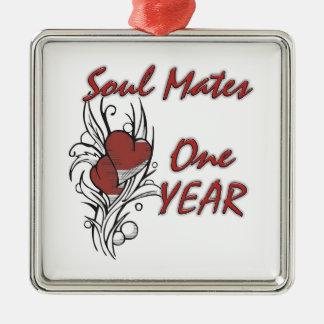 Soul Mates 1 Year Silver-Colored Square Decoration