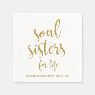 Soul Sisters for Life Glitter Bachelorette Disposable Napkins