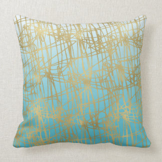 Soulful Aqua Gold Ombre Abstract Throw Pillow