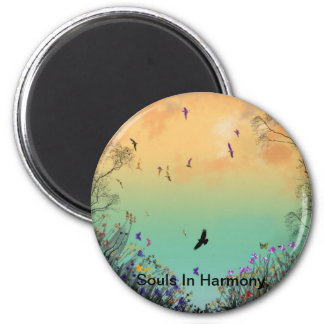 """Souls In Harmony""* 6 Cm Round Magnet"
