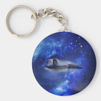 Sound barrier plane basic round button key ring