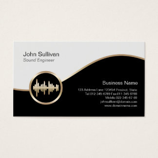 Sound Engineer Business Card Gold Sound Wave Icon