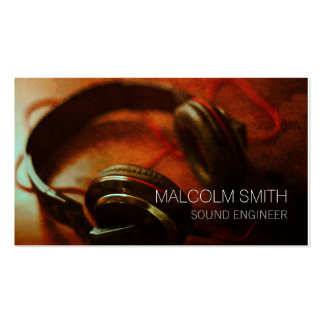 Sound Engineer Headphones Closeup Business Card Template